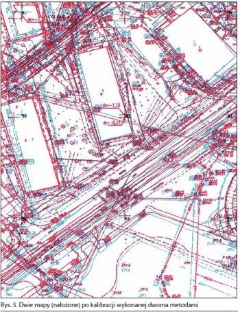 Dwie mapy po kalibracji wykonanej dwoma metodami
